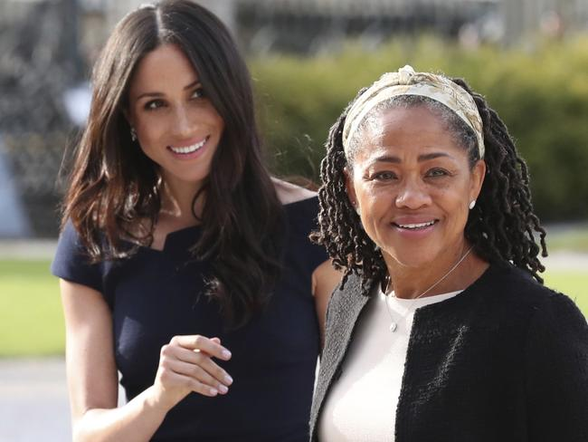 Meghan Markle, left and her mother, Doria Ragland, arrive at Cliveden House Hotel, in Berkshire, England. Picture: AP