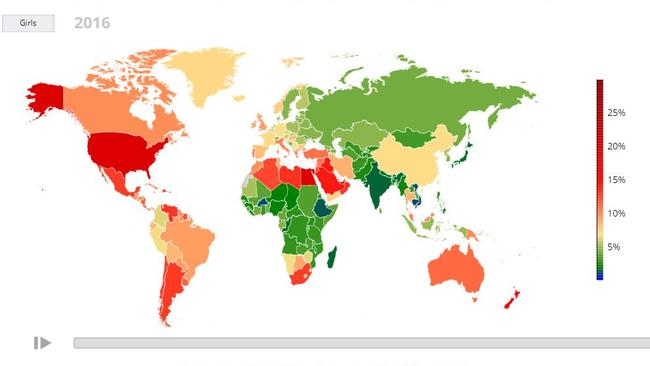 This map shows countries with the highest number of obese boys aged 5-19. Picture: NCD Risk Factor Collaboration