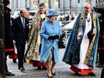 Queen Elizabeth II and Prince Philip, Duke of Edinburgh are escorted by Dean of Westminster Dr John Hall as they attend the Commonwealth Observance Day Service on March 14, 2016 in London, United Kingdom. Picture: Getty