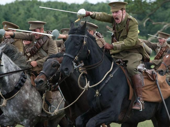 A world away from trenches and mud ... this cavalry charge scene from blockbuster War Horse shows how the opening skirmishes reflected a conflict very different to the war of attrition that developed.