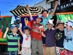 Hugh Gentilcore, 4, Lani Leybourne, 4, Rhys Gentilcore, 9, Luca Ankeny, 9, Liam Edwards, 6, Clay Gentilcore, 7, and Louis Leybourne, 5, at Port Adelaide for the Stage 1 start. Picture: Bianca De Marchi