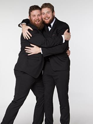 Expect their marriage to last two years ... Heterosexual best mates Travis McIntosh and Matt McCormick agreed to get married to win a trip to the 2015 Rugby World Cup. Picture: The Edge