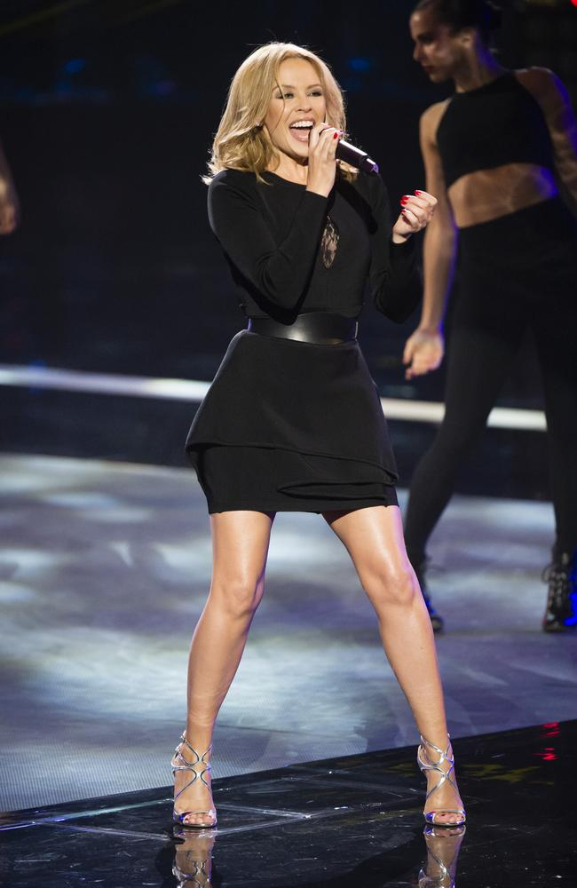 Kylie Minogue's world first performance this evening on The Voice of her new single Sexy Love and her classic Love At First Sight Photo courtesy of Channel Nine.
