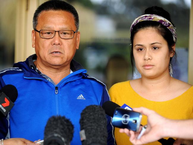 Mr Ken Lee and daughters Cassie and Shelly Appeal for missing woman Belinda Lee. Pic: John Gass