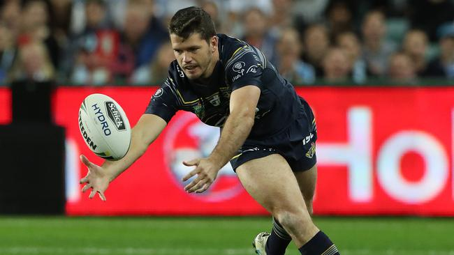 Lachlan Coote drops the ball on another tough night for the Cowboys fullback. Picture: Peter Wallis
