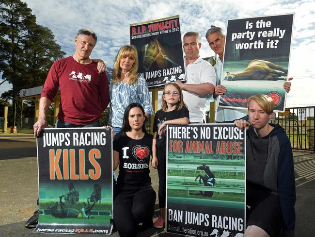 Jumps racing protesters, the Coalition for the Protection of Racehorses members Rod Patching, Sally Sutton, Roy Taylor, Ellio Celotto, Kelly Dinham with daughter Isabelle, 7, and Nicholas Sutton, outside Oakbank Racecourse. Picture: Tom Huntley