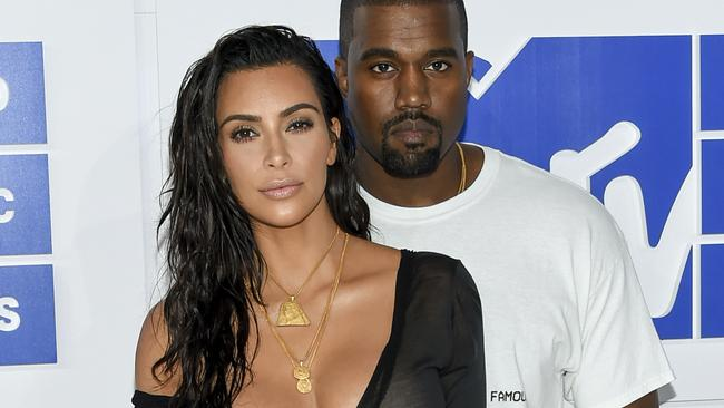 "He also claimed wife Kim Kardashian West (pictured here with West) to be ""the Marie Antoinette of our time"". Which is weird because we don't think she eats much cake? Picture: Evan Agostini/Invision/AP"