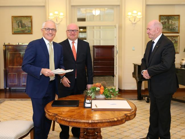 The Governor-General, Sir Peter Cosgrove receiving the Prime Minister Malcolm Turnbull and Attorney-General, Senator the George Brandis for the assent of the Marriage Amendment (Definition and Religious Freedoms) Bill 2017, at Government House in Canberra. Picture: Kym Smith