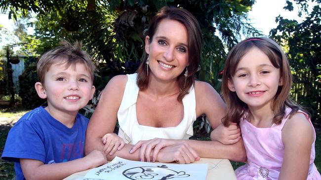 Reggie Sorensen, known as Reggie Bird when she won Big Brother 10 years ago, with children Lucas Sorensen (4) and Mia Sorensen (6) in her Queensland home.
