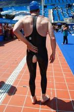 <p>Reuters correspondent Ian Simpson leaves the aquatic World Championships competition pool after ripping a Jaked 01 full body all-polyurethane swimsuit during a test in Rome July 30, 2009. To get the inside story on the controversial suits that are the stars of the world swimming championships, you have to get inside one. You had better have plenty of time, however, because inching on this synthetic second skin for a swim in the world championship pool was a sweaty workout for this Reuters correspondent.</p>