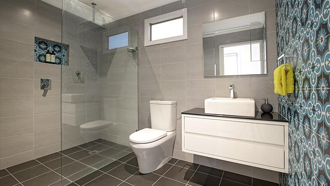 The renovated modern bathroom.