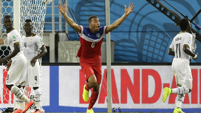 United States' John Brooks, centre, can't believe he's scored.