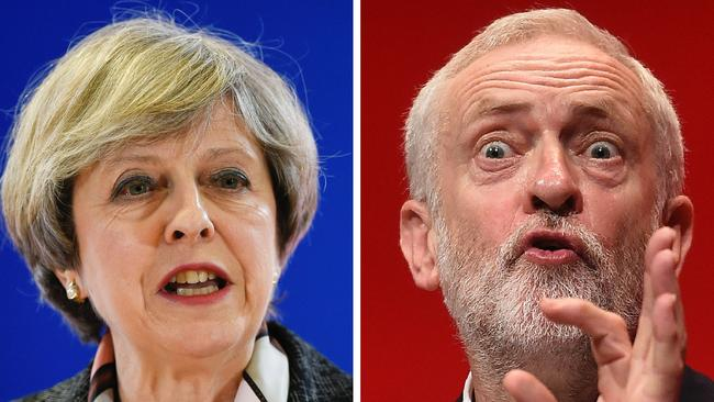 British PM May and Britain's main opposition Labour Party leader Jeremy Corbyn. Labour campaigned for Britain to remain in the EU, but Corbyn said he would respect voters' decision to leave. Picture: AFP/John Thys and Paul Ellis
