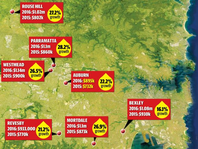 "Map shows Sydney's ""magnificent seven"" suburbs set for real estate growth."
