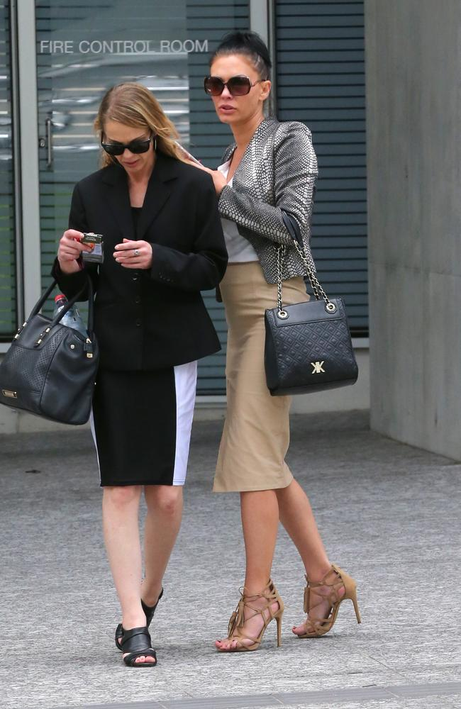 Jemma Clark (right) pictured outside the Brisbane District Court after being convicted of supplying coke and ecstasy.