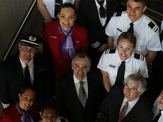 Virgin boss John Borghetti with the airline's staff.