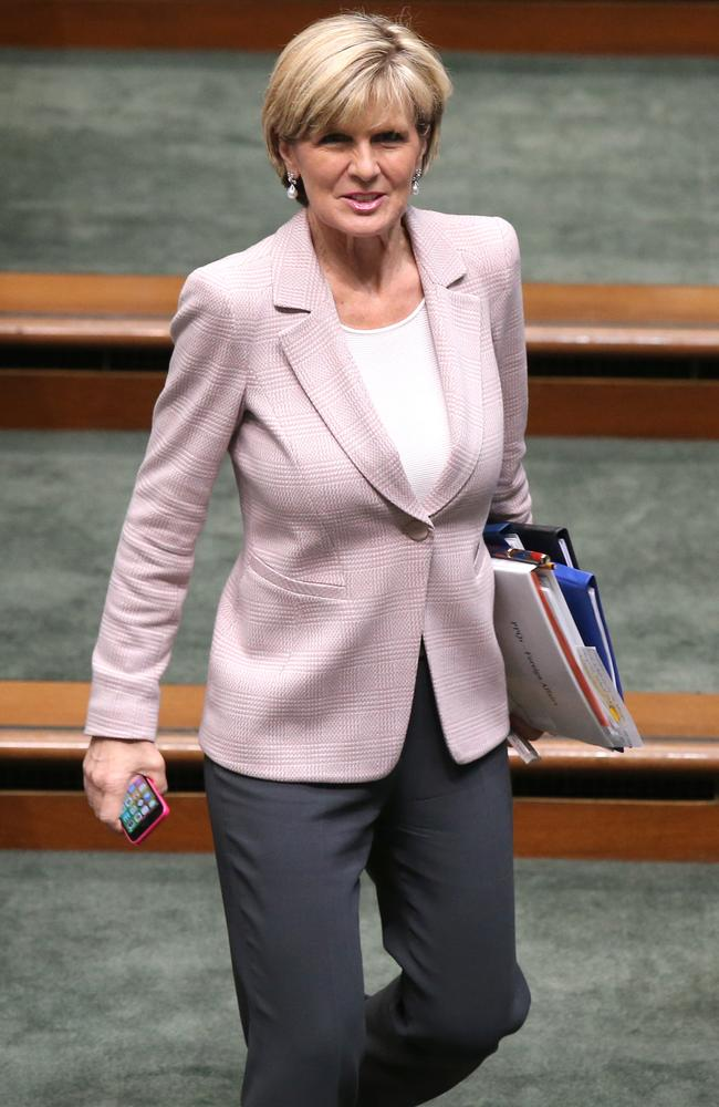 Health systems ... Foreign Minister Julie Bishop says unlike America, Australia is not set up to treat medical staff who contract Ebola.