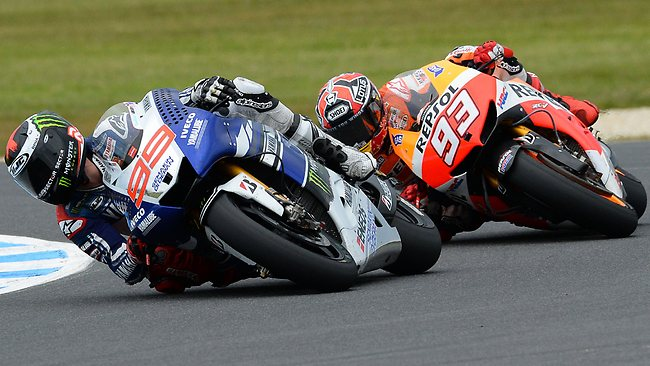 Jorge Lorenzo of Spain leads Marc Marquez at Phillip Island.