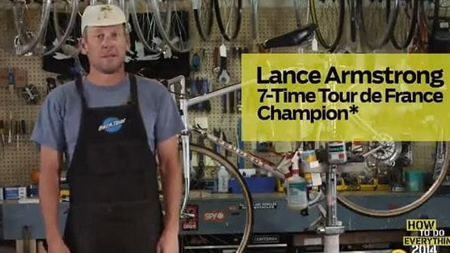 A screengrab from Lance Armstrong's bizarre promo clip for Outside magazine.