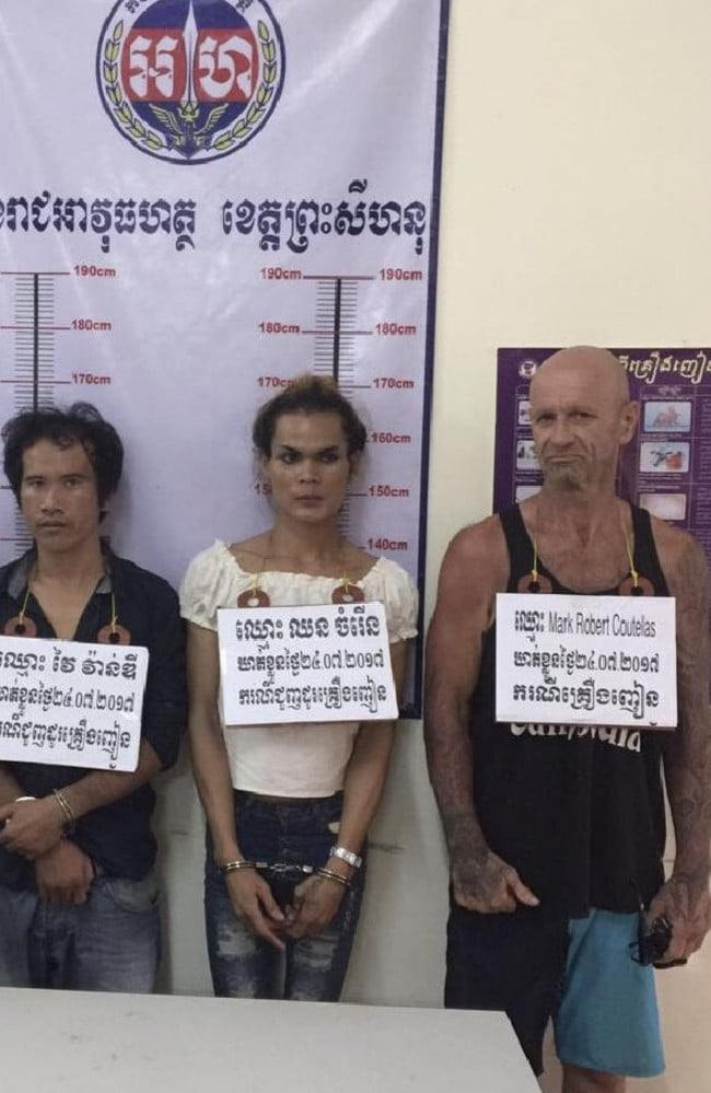 Former 'Solo Man' Mark Coutelas (right) and others arrested for ice in Cambodia last July.