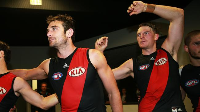 Jobe Watson and Brendon Goddard celebrate a win this season. Picture: Toby Zerna