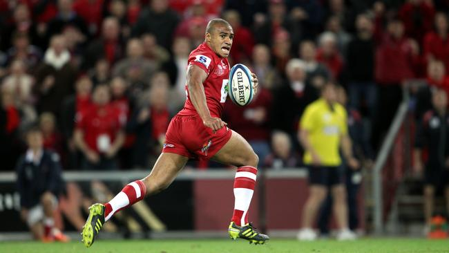Will Genia on his way to score for the Reds in the 2011 Super Rugby final.