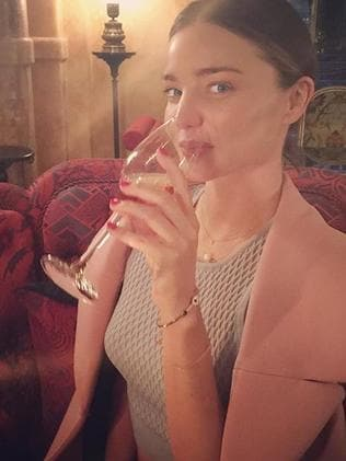 "'Start each day with a grateful heart,"" and a glass of bubbles, says Miranda Kerr. Picture: Instagram"