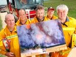 Labertouche Black Saturday Reunion CFA. The boys behind the image, and their story behind what happened on Black Saturday. Gary Cheesman, Matthew Smythe, Ian Maxfield, Reg Murrill and Bruce Jewell. contact is Bruce Jewell [0418 329 826].