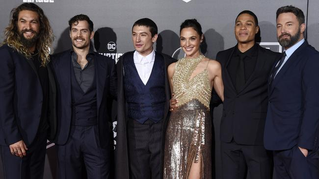 Jason Momoa, Henry Cavill, Ezra Miller, Gal Gadot, Ray Fisher and Ben Affleck at the premiere of  <i>Justice League. Picture: </i>Chris Pizzello / Invision / AP.