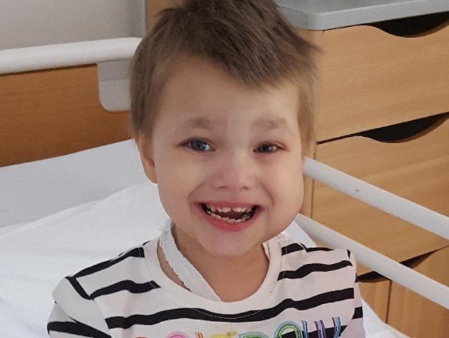 This is Eileidh's third time fighting neuroblastoma. Picture: GoFundMe