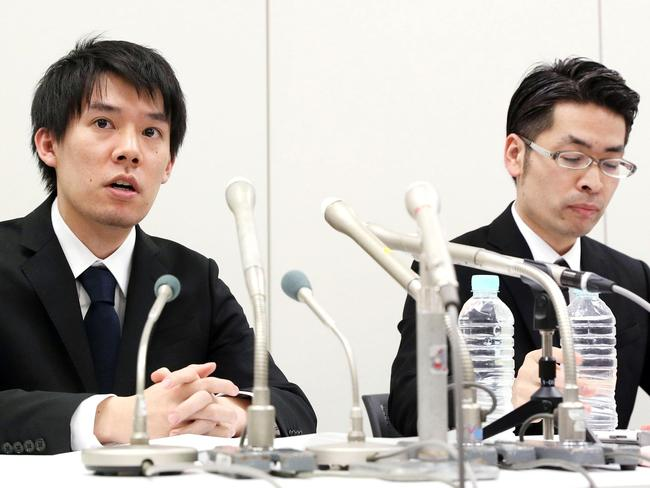 Coincheck President Koichiro Wada is under fire in Japan after the company lost hundreds of millions in cryptocurrency. Picture: (Takuya Inaba/Kyodo News via AP
