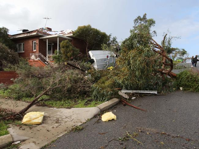 The scene of storm damage in Clarke Street, O'Connor. Picture: Ross Swanborough