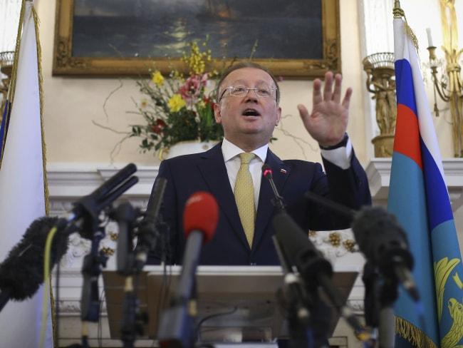 Russian ambassador to the UK Alexander Yakovenko speaks about the recent Salisbury poisoning incident. Photo: Yui Mok / AP