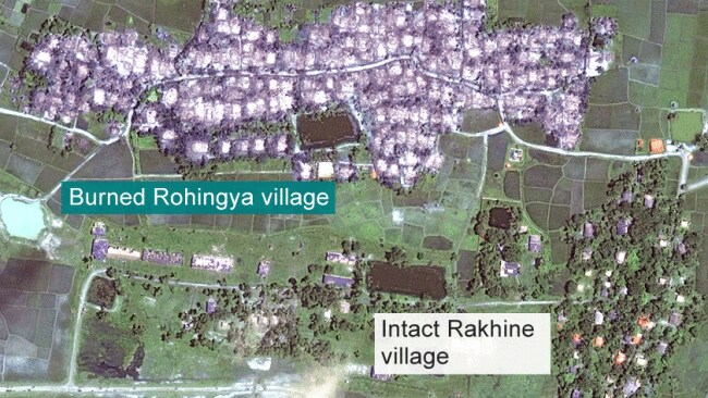 Satellite images show hundreds of burnt villages. Photo: Human Rights Watch.
