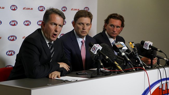 Essendon Football club talk to the press reguarding drug issues at Windy Hill during the 2012 season. L to R - Ian Robson (CEO), David Evans (Chairman) and James Hird (Snr coach). Picture: Scott Chris
