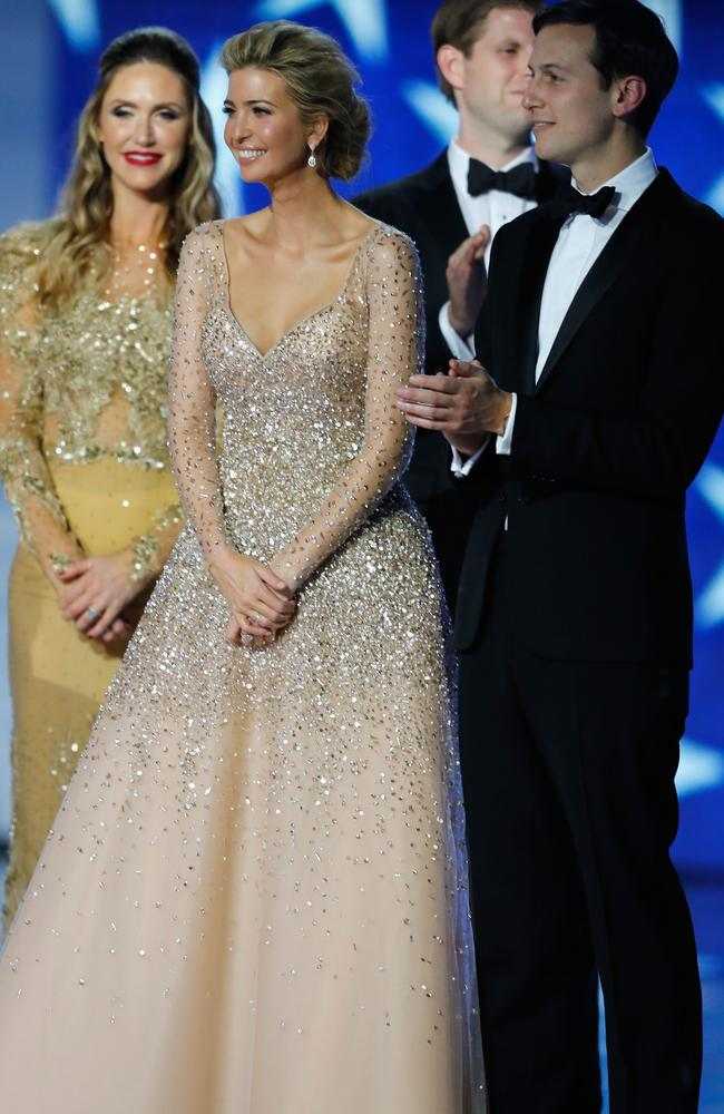 Ivanka Trump (wearing a Carolina Herrera gown) and husband Jared Kushner on stage at the Freedom Inaugural Ball in Washington. Picture: AFP