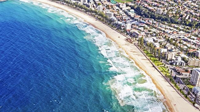 An aerial view of Manly Beach. Picture: Getty Images
