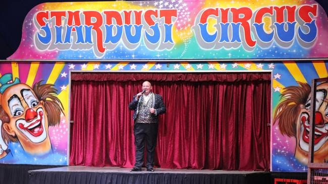 Stardust Circus ringmaster Adam St. James takes to the stage on opening night in Bathurst, February 1, 2018. Picture: Megan Palin.
