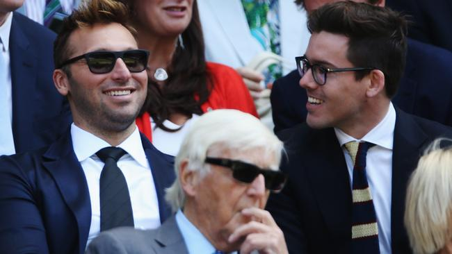 Relaxed: Michael Parkinson and swimmer Ian Thorpe at Wimbledon earlier this month