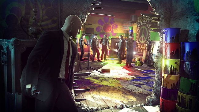 One of Hitman: Absolution's missions will see you sneaking through a student party as it's raided by the cops. Picture: Courtesy of IO Interactive