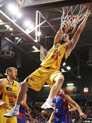 Melbourne's Chris Goulding with a spectactular dunk against the Adelaide 36ers. Picture: Morne de Klerk