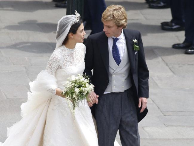 Alessandra de Osma and Prince Christian of Hanover leave the church after their wedding. Photo: Elkin Cabarcas / MEGA