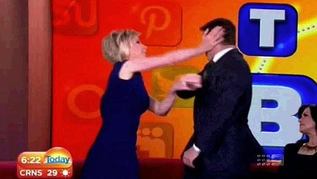 "Deborah Knight tries unsuccessfully to demonstrate a ""defence move"". Picture: Channel Nine"