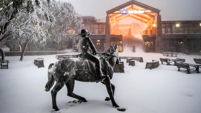 The snowy entrance to Mt Buller this morning, which sets the resort up for winter. Picture: Andrew Railton