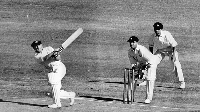 The Don scoring runs. Well, there aren't many pictures of him failing to trouble the scorers.