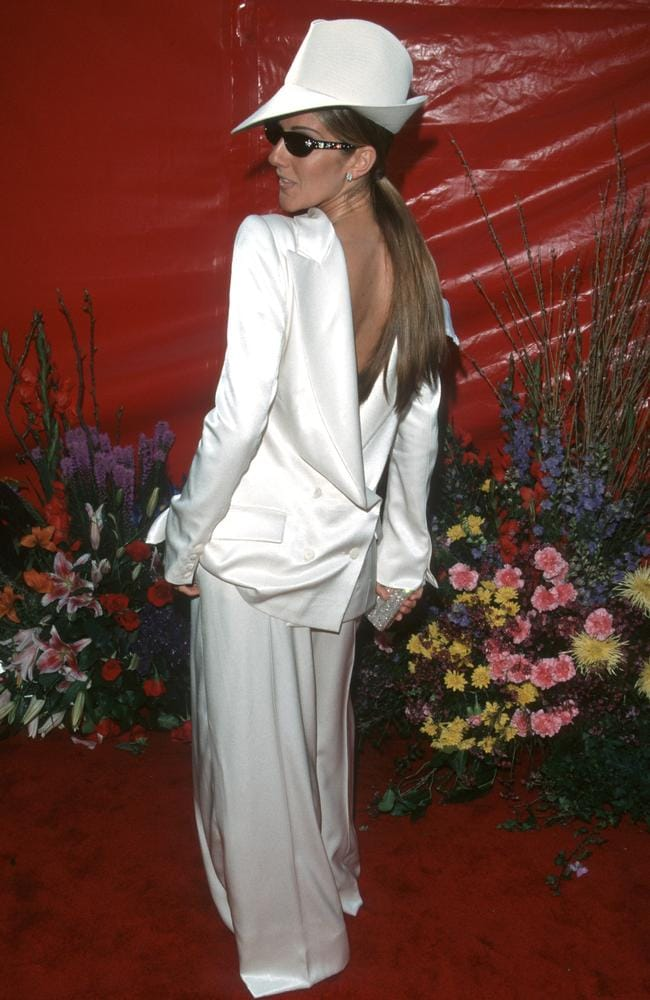 We don't know which way to look with this back-to-front tuxedo classic from Celine Dion, which she wore in 1999. Picture: Jim Smeal/WireImage