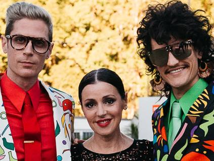 Harvey Miller AO and Monte Morgan (right) of Melbourne band Client Liaison with singer Tina Arena at Splendour in the Grass
