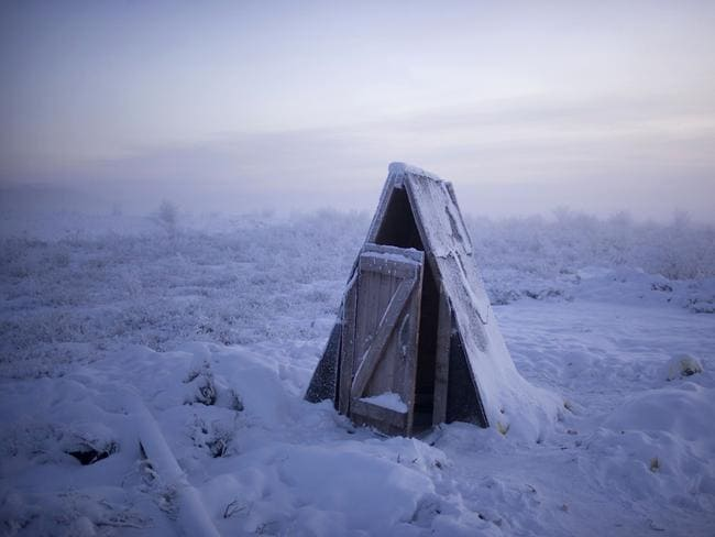 A toilet on the tundra at a petrol stop on the road to Oymyakon Village.