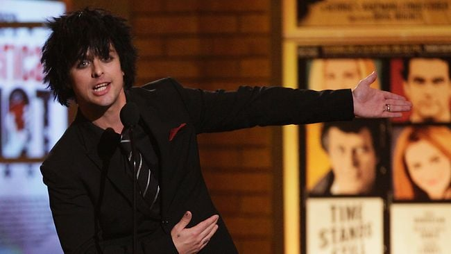 Billie Joe Armstrong, of the rock band Green Day, appears onstage at the 61st Annual Tony Awards in New York. Picture: AP.