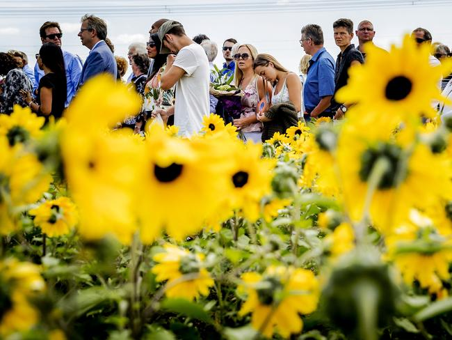 Relatives attend the unveiling of the National Monument for the MH17 victims in Vijfhuizen, the Netherlands. Picture: AFP/ANP/Remko de Waal